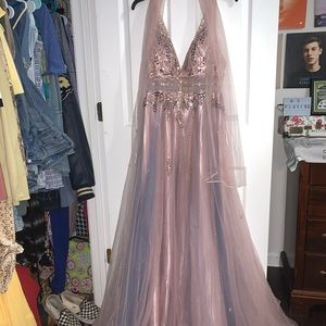 Pink and Purple Long Prom Dress with Sash